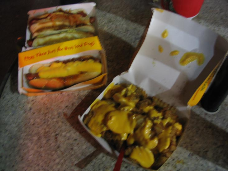 Two Hot Dogs, Chili Cheese Dog and Cheese Fries, Nathan's, Coney Island, Brooklyn, July 9, 2004