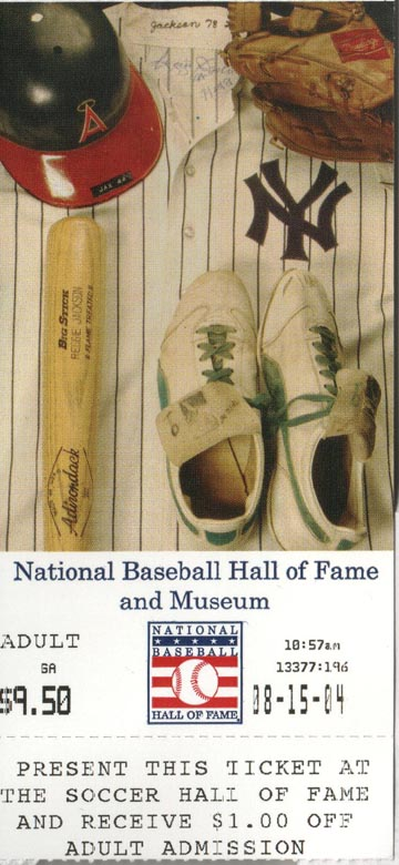 National Baseball Hall of Fame and Museum Ticket Stub