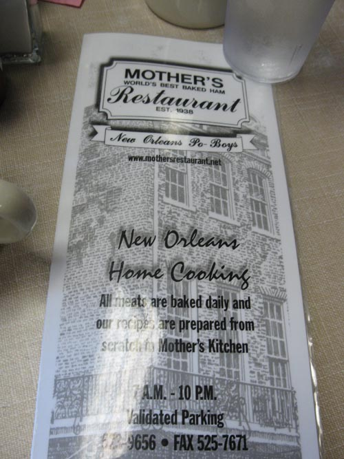 Menu, Mother's Restaurant, 401 Poydras Street, New Orleans, Louisiana