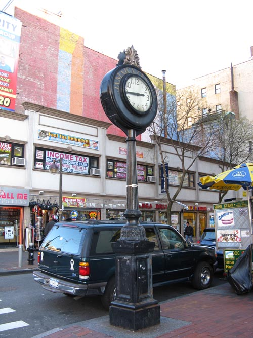 Sidewalk Clock, 161-11 Jamaica Avenue at Union Hall Street, SW Corner, Jamaica, Queens, December 16, 2009