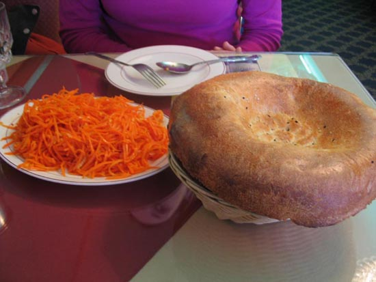 Morkovcha (Korean Carrot Salad) and Lepeshka, Salute, 63-42 108th Street, Forest Hills, Queens