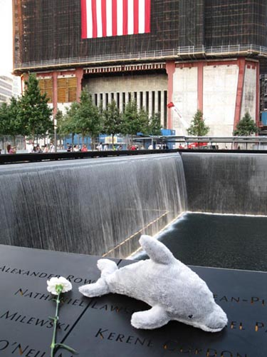 North Pool, September 11 Memorial, World Trade Center, Financial District, Lower Manhattan, September 12, 2011, 6:23 p.m.