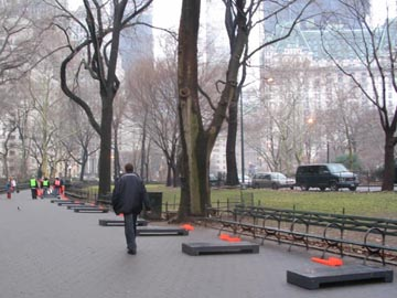 "Preparations for Christo and Jeanne-Claude's ""The Gates"" Project, Wien Walk, Central Park, January 13, 2005"