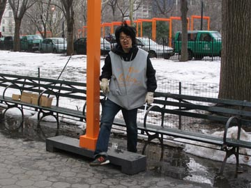 Placing Support Beams, Preparations for Christo and Jeanne Claude's The Gates Project, Central Park, February 8, 2005